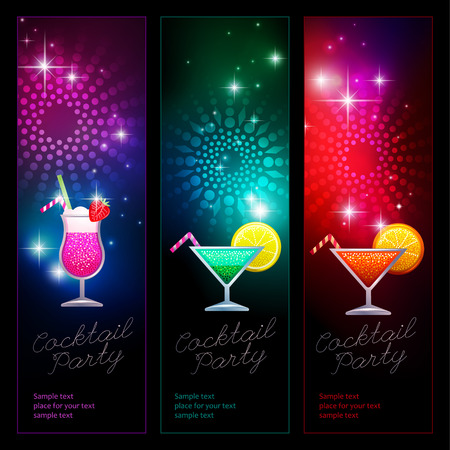 Set of vertical banners for cocktail party. Vector illustrations for your design