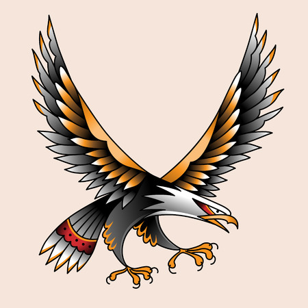 bird flying: Flying eagle. Color tattoo in traditional old school style Illustration