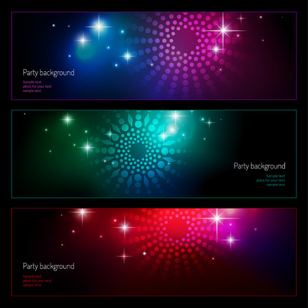 Set of backgrounds for party. Vector illustrations for your design 向量圖像