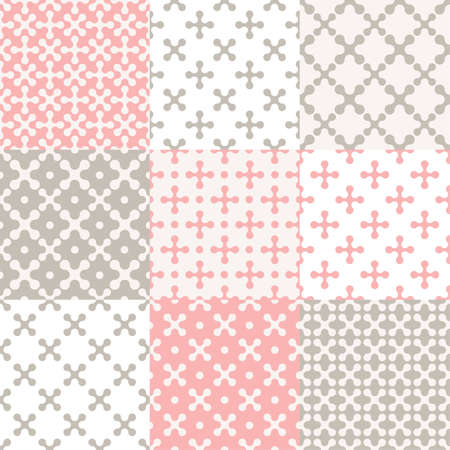 xs: Set of 9 abstract seamless pattern of xs for your design Illustration