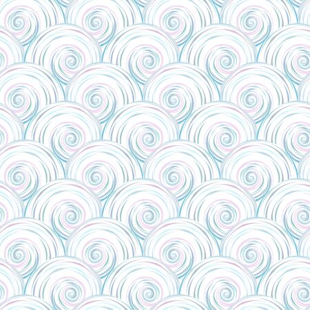 abstract swirls: Abstract seamless pattern. Pearl swirls as the scales on a white background Illustration