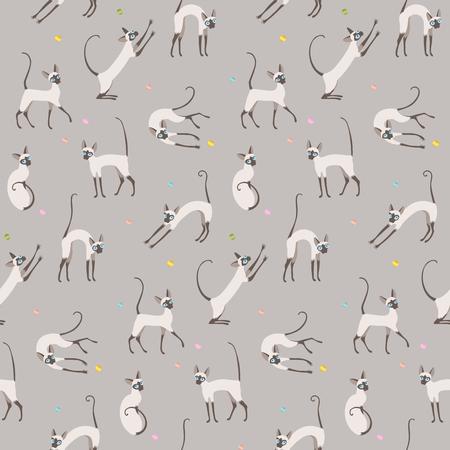 Jugar gatos sobre fondo gris. Patrón sin fisuras para su diseño.