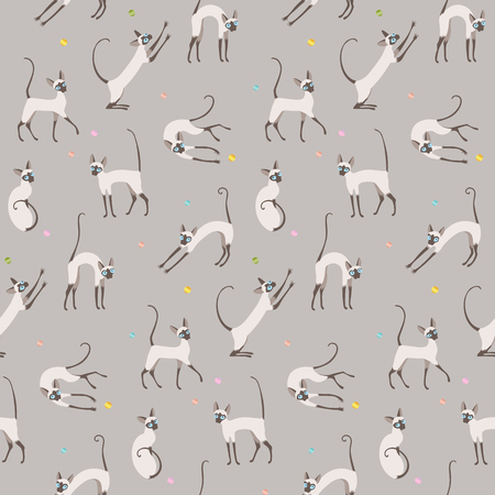 Playing cats on grey background. Seamless pattern for your design. 矢量图像