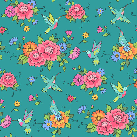 hummingbird: Floral seamless pattern. Hummingbirds fly among the flowers on green background
