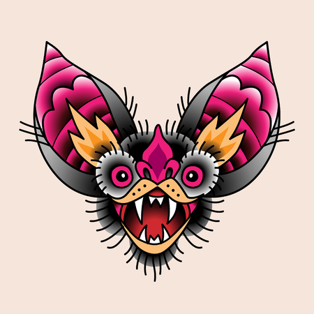 The head of a bat with open mouth. Traditional tattoo symbol for your design