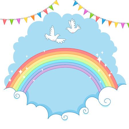paloma volando: Dos paloma blanca volando en el cielo sobre el arco iris.