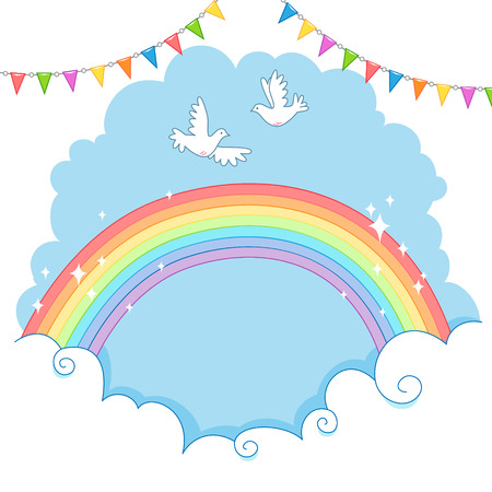 Two white dove flying in the sky over the rainbow. 矢量图像