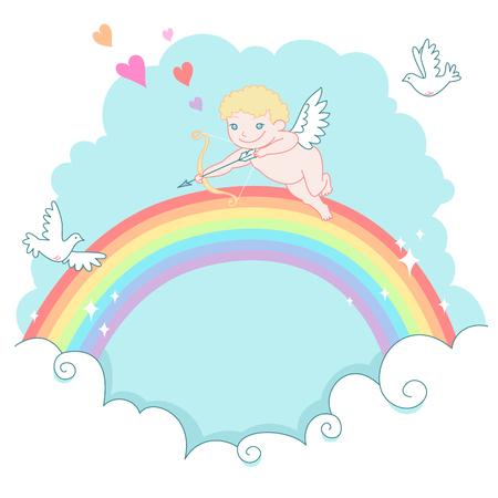 valentine cherub: St. Valentine greeting card. Cheerful cherub shooting at pigeons in the sky