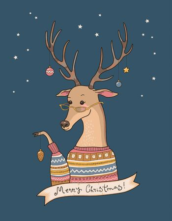 decorates: Cartoon deer in sweater decorates their horns. Christmas card Illustration