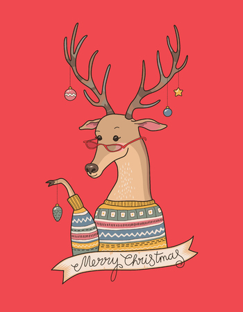 red deer: Christmas cartoon deer in sweater decorates their horns on red background. Illustration