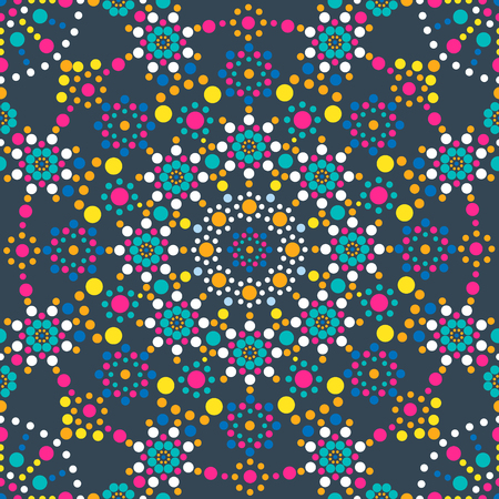 Seamless pattern. A mandala made of colored dots on a blue background