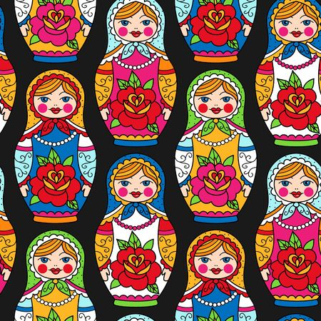 Multicolor russian nesting dolls on black background. Seamless pattern for your design. Vettoriali