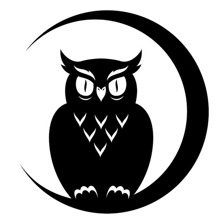 An owl sitting on the moon. Black illustration isolated on white background
