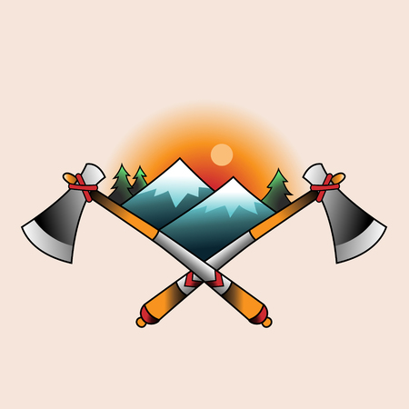 Symbol of a indian camp. Color tattoo in traditional old school style Illustration