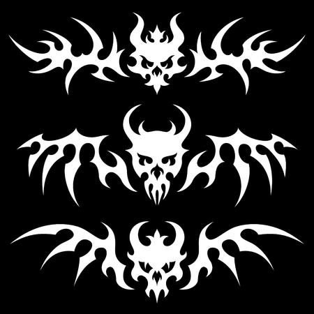 demonio: Conjunto de cráneos estilizados con alas en estilo tribal. Ejemplo blanco sobre fondo negro