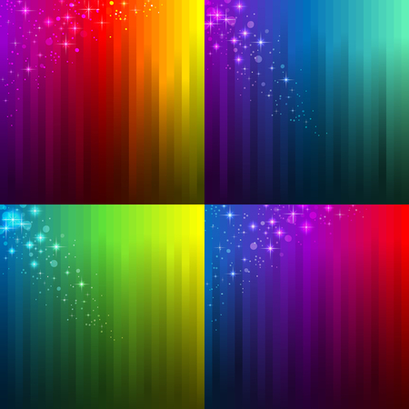 overflow: Set of 4 abstract multicolor backgrounds for party design