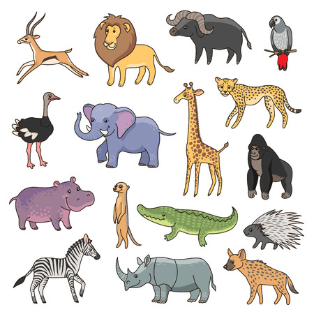 illustrate: Set of cute african animals for your design
