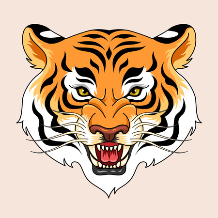 traditional tattoo: Roaring tigers head. Traditional tattoo symbol for your design Illustration