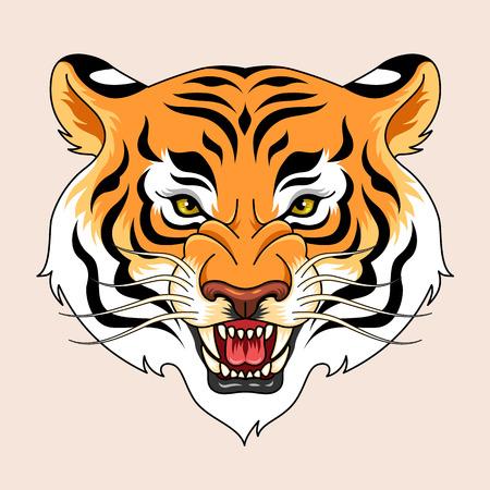 tattoo traditional: Ruggente testa di tigre. Simbolo tatuaggio tradizionale per il vostro disegno Vettoriali