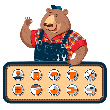 maintenance work: Vector cartoon character craftsman bear with the set of icons for repair