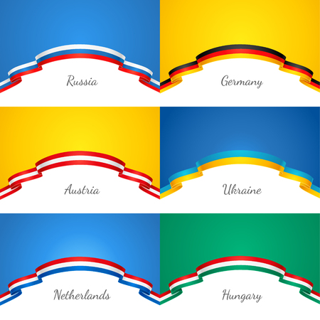 patriotic: Set of patriotic backgrounds with a border in the form of a flags Illustration
