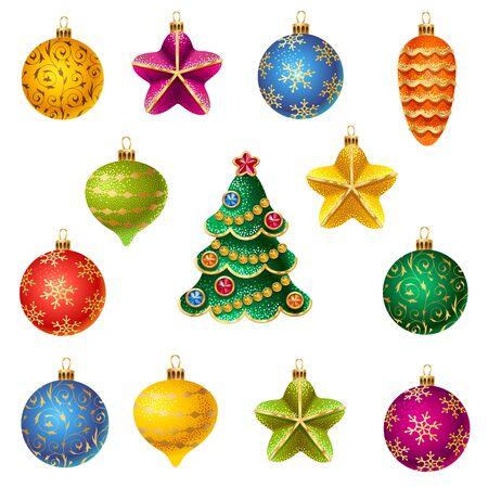 motivos navideños: Un conjunto de colores brillantes adornos de Navidad aislado en el fondo blanco