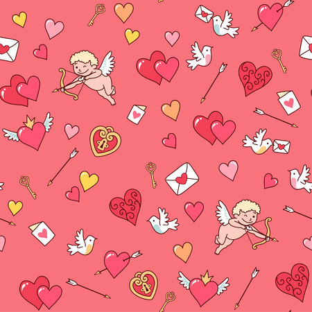 Cupid shooting at hearts on a pink background. Seamless pattern for Valentine's day Vettoriali