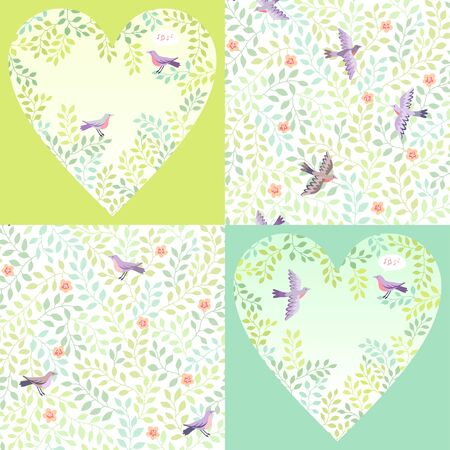 springtime: Birds in green branches. Set of springtime backgrounds and  patterns for Valentines day