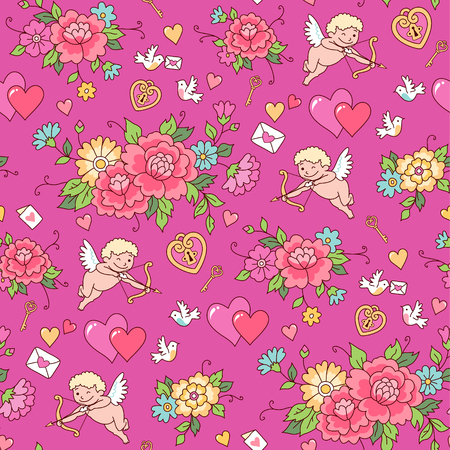 Shooting Cupid among flowers on a pink background. Seamless pattern for Valentine's day