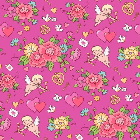 Schießen Cupid unter den Blumen auf einem rosa Hintergrund. Nahtlose Muster für Valentinstag