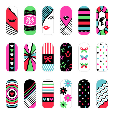 Fashion set of stickers  in pop style for decoration of nails.