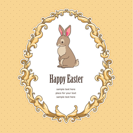 bunnies: Cute bunny inside vintage frame baroque style . Template card for Easter design Illustration