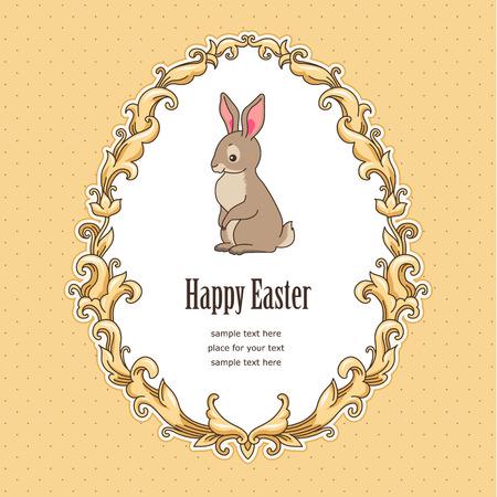 Cute bunny inside vintage frame baroque style . Template card for Easter design Illustration