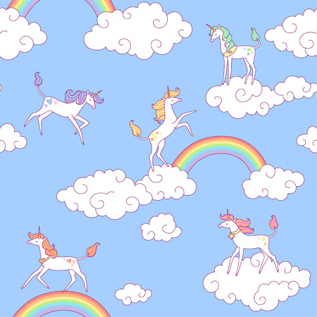 rainbow abstract: White unicorns and clouds in the  blue sky. Seamless pattern for your design.