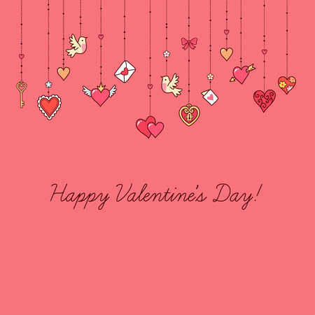 Little hanging hearts and other decorations on pink background.  Greeting card for Valentine's day.