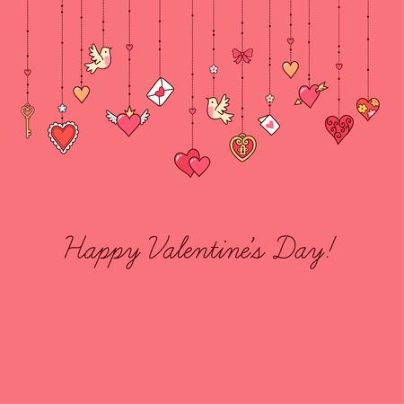 Los pequeños corazones colgantes y otras decoraciones en fondo rosado. Tarjeta de felicitación para el día de San Valentín.