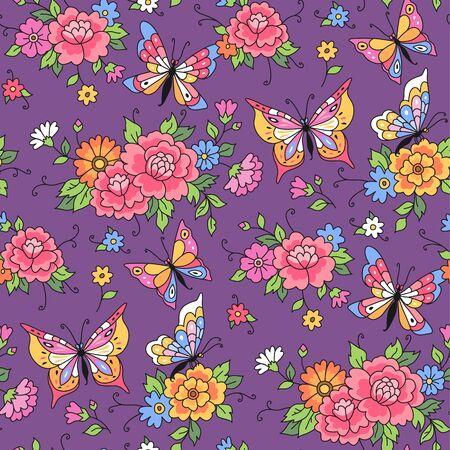 flor caricatura: Modelo inconsútil floral. Las mariposas vuelan entre las flores sobre fondo violeta