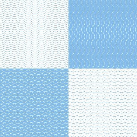 blue lines: Set of abstract seamless patterns. Lines from dots on white and blue background