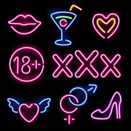 sexo: Conjunto de brillantes de neón símbolos eróticos en fondo negro