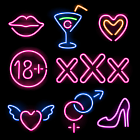 Set of glowing neon erotic symbols on black background Vettoriali