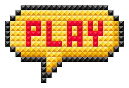 play: Bocadillo con la palabra juego. El icono en el estilo de 8 bits aislados en fondo blanco Vectores