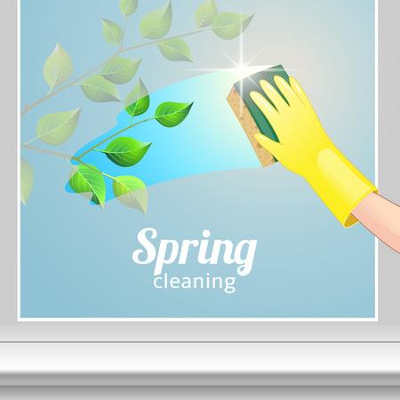 청소 서비스에 대한 개념 배경입니다. 노란색 장갑에 손을 창을 청소