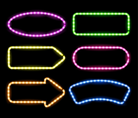 lamp light: Set of glowing neon frames on black background for your design