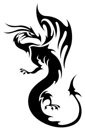 dragones: Tatuaje en estilo tribal. Silueta de dragón negro aislado en blanco