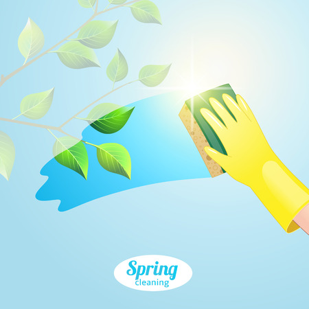 wet leaf: Concept background for cleaning service. Hand in yellow glove cleans the window
