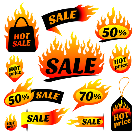 selling off: The set of burning labels and tags for hot sale