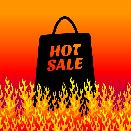 shopping malls: Concept background for hot sales. Shopping bag on fire