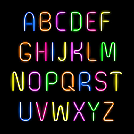 neon sign: Set of glowing neon letters, alphabet for your design on black background