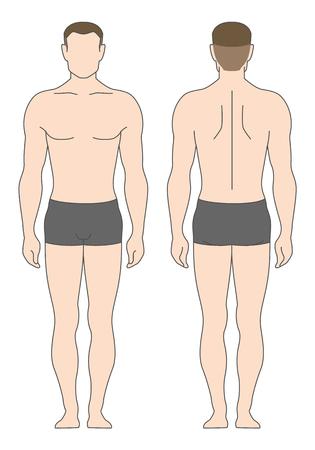 Abbildung Mann in Unterwäsche isoliert auf weiß. Die Vorlage für Ihr Design Illustration