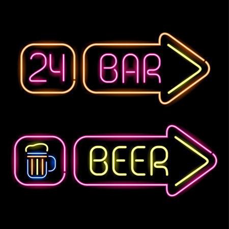 neon light: Set of glowing neon signs for bar on black background Illustration